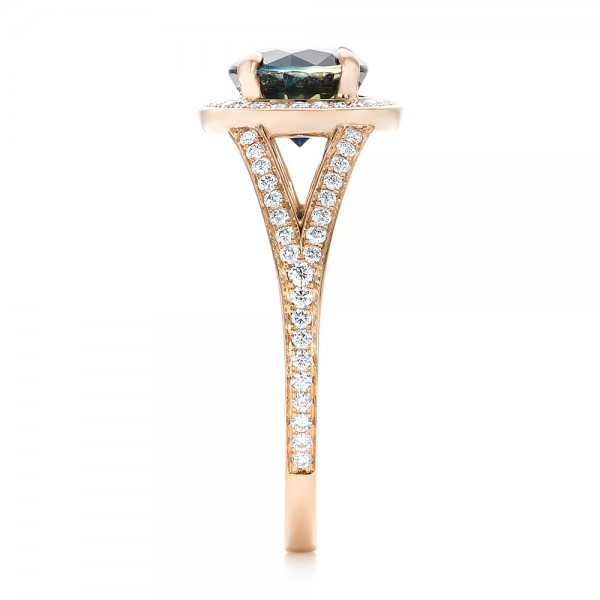 Custom Rose Gold Sapphire and Diamond Engagement Ring - Side View