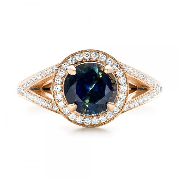 Custom Rose Gold Sapphire and Diamond Engagement Ring - Top View