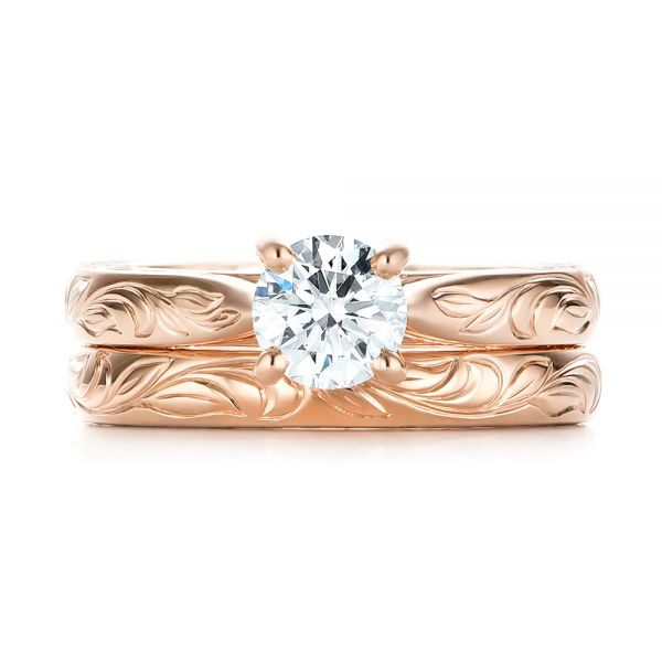 14k Rose Gold Custom Solitaire Diamond Engagement Ring - Three-Quarter View -  103283