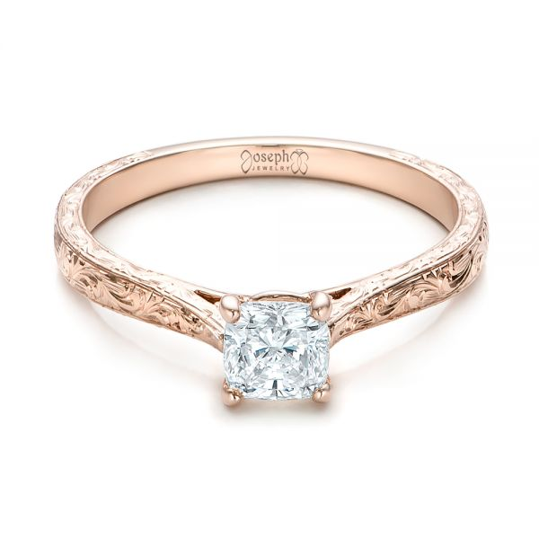 14k Rose Gold Custom Solitaire Diamond Engagement Ring - Flat View -
