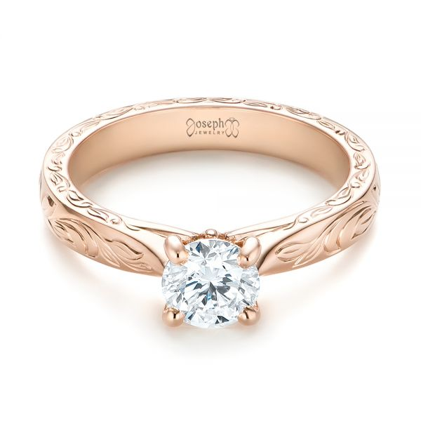14k Rose Gold Custom Solitaire Diamond Engagement Ring - Flat View -  103283