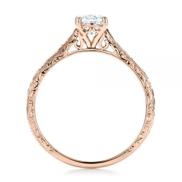 14k Rose Gold Custom Solitaire Diamond Engagement Ring - Front View -