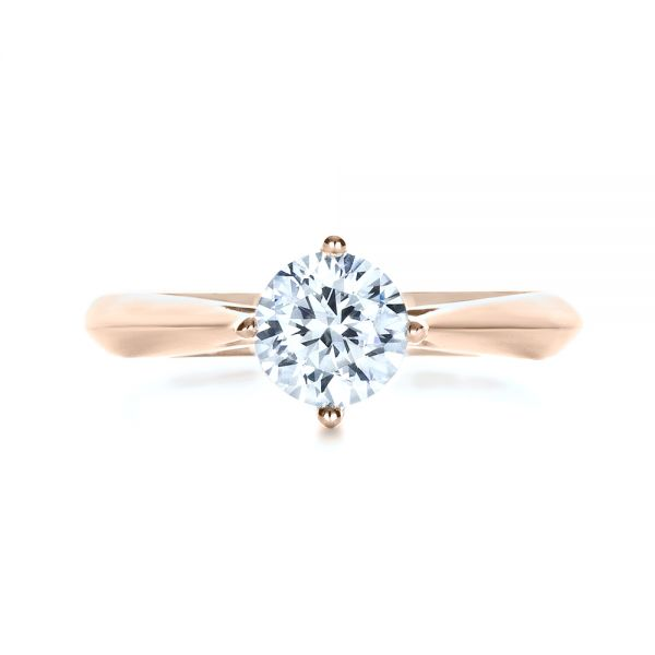 14k Rose Gold Custom Solitaire Diamond Engagement Ring - Top View -