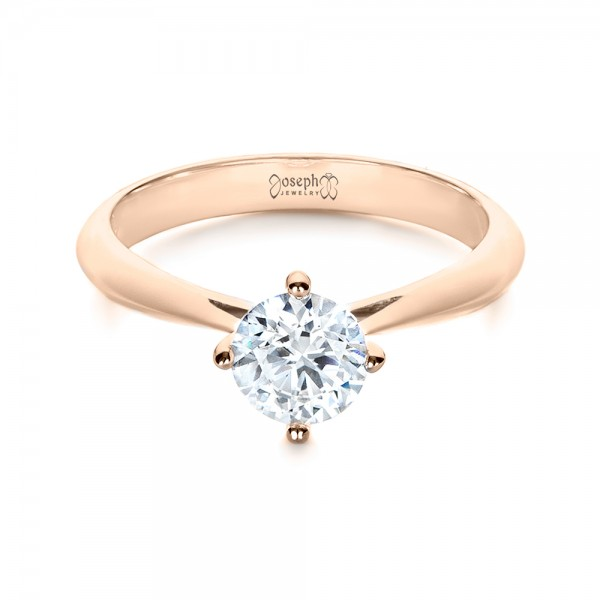 Custom Rose Gold Solitaire Diamond Engagement Ring - Laying View