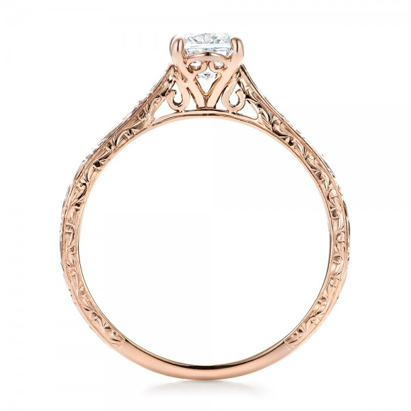 Custom Rose Gold Solitaire Diamond Engagement Ring - Finger Through View