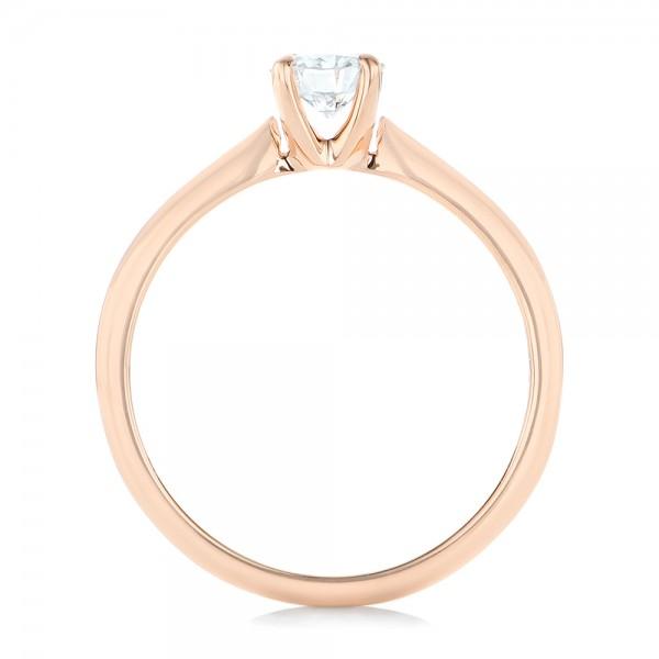 Custom Rose Gold Solitaire Diamond Engagement Ring - Finger Through View