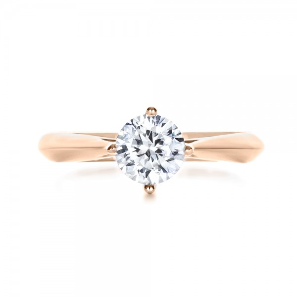 Custom Rose Gold Solitaire Diamond Engagement Ring - Top View