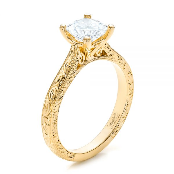 18K Yellow Gold Custom Rose Gold Solitaire Engagement Ring - Three-Quarter View -  100780 - Thumbnail
