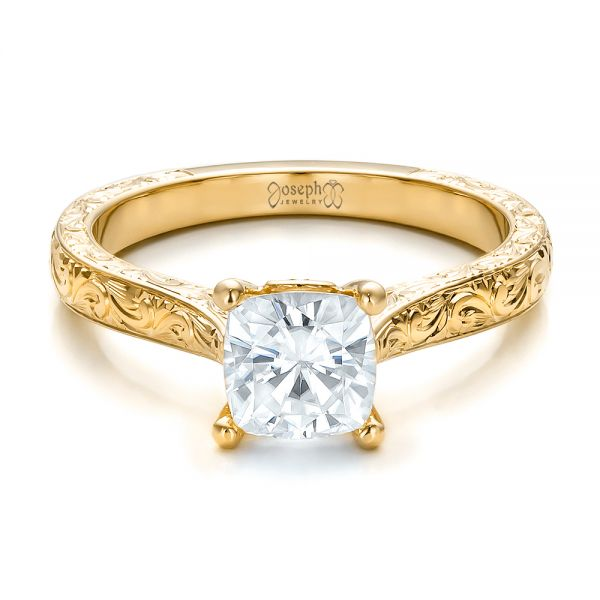 18K Yellow Gold Custom Rose Gold Solitaire Engagement Ring - Flat View -  100780 - Thumbnail