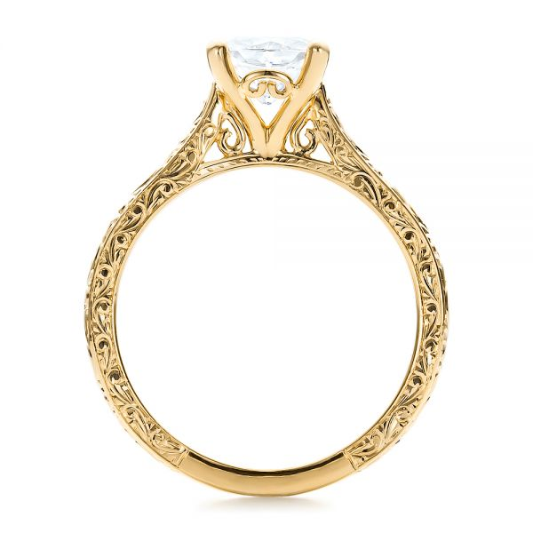 18K Yellow Gold Custom Rose Gold Solitaire Engagement Ring - Front View -  100780 - Thumbnail