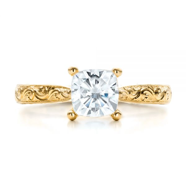 18K Yellow Gold Custom Rose Gold Solitaire Engagement Ring - Top View -  100780 - Thumbnail