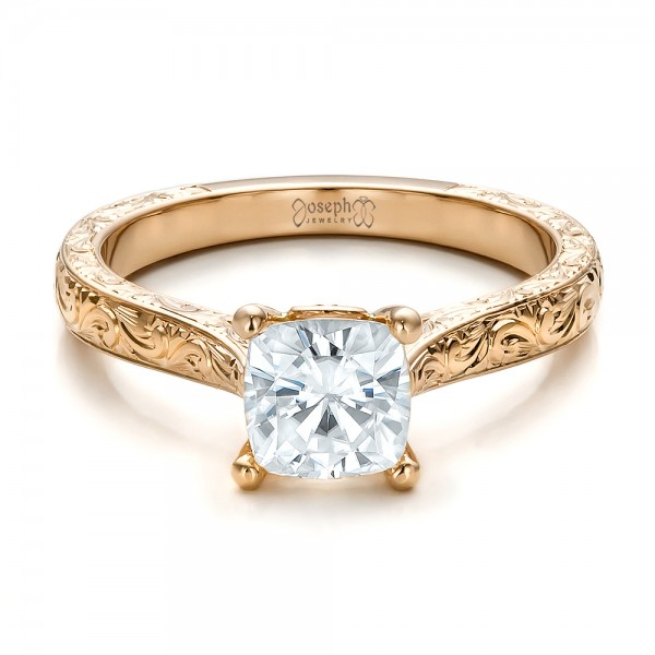 14K Gold 14K Gold Custom Solitaire Engagement Ring - Flat View -