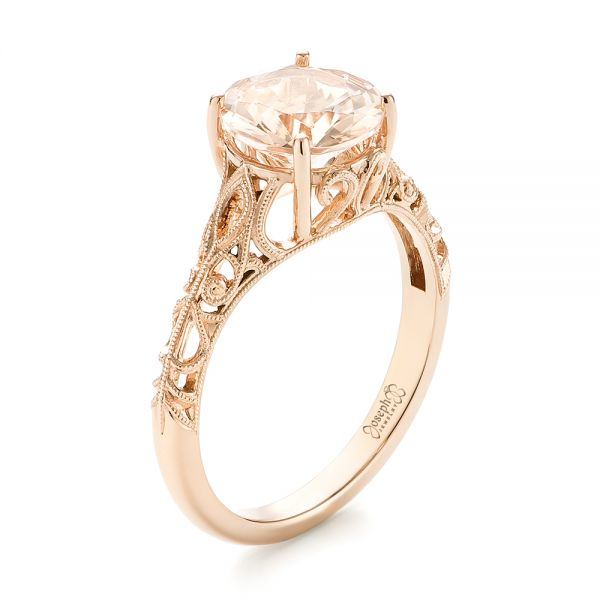 Custom Rose Gold Solitaire Morganite Engagement Ring