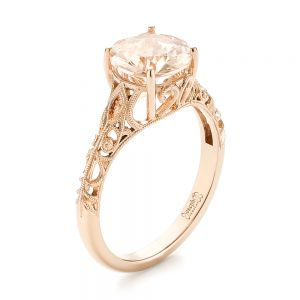 Custom Rose Gold Solitaire Morganite Engagement Ring - Image