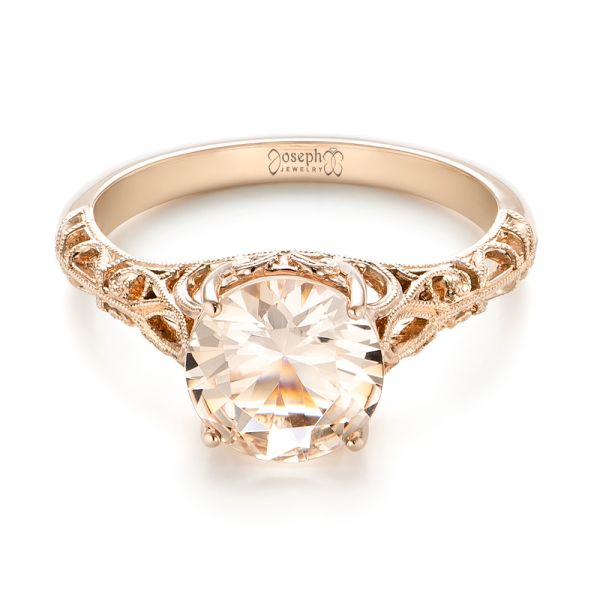 14k Rose Gold Custom Solitaire Morganite Engagement Ring - Flat View -