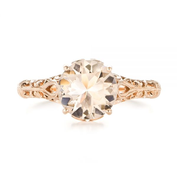 14k Rose Gold Custom Solitaire Morganite Engagement Ring - Top View -