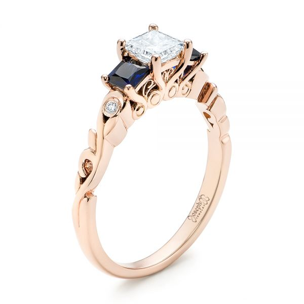 Custom Rose Gold Three Stone Blue Sapphire and Diamond Engagement Ring - Image