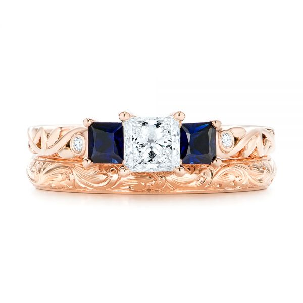 18k Rose Gold 18k Rose Gold Custom Three Stone Blue Sapphire And Diamond Engagement Ring - Three-Quarter View -