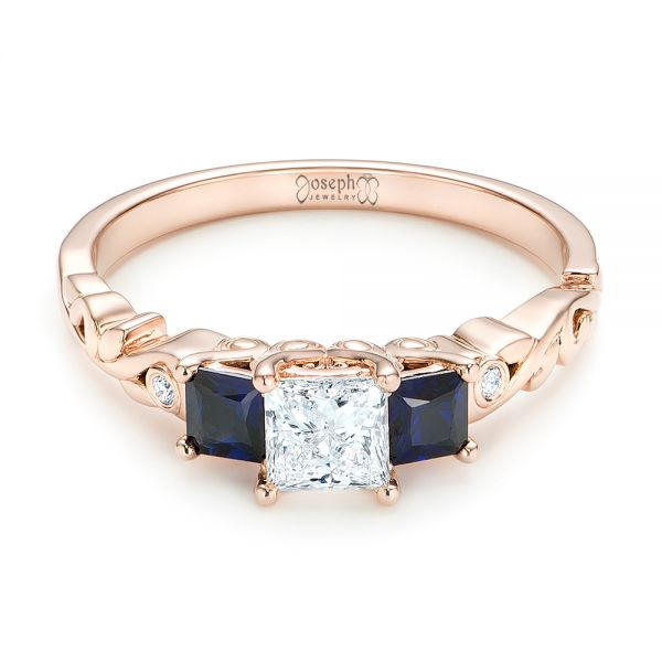 Custom Rose Gold Three Stone Blue Sapphire and Diamond Engagement Ring - Flat View -  103146 - Thumbnail