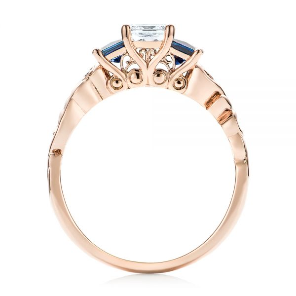 Custom Rose Gold Three Stone Blue Sapphire and Diamond Engagement Ring - Front View -  103146 - Thumbnail