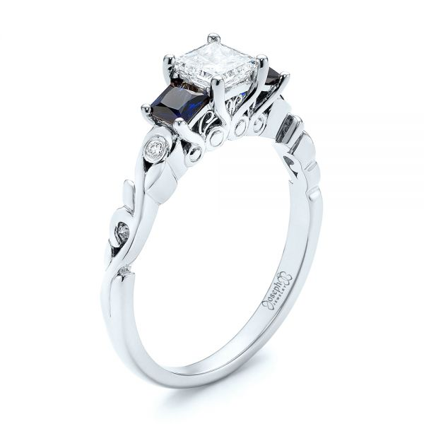 Platinum Platinum Custom Three Stone Blue Sapphire And Diamond Engagement Ring - Three-Quarter View -  103146