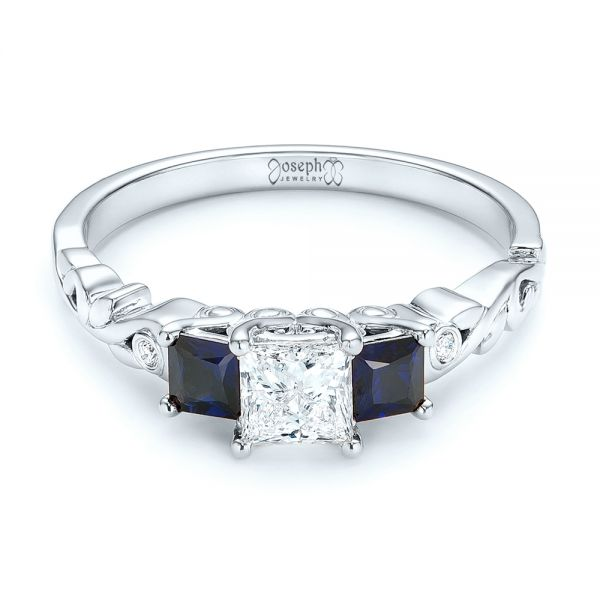Platinum Platinum Custom Three Stone Blue Sapphire And Diamond Engagement Ring - Flat View -  103146