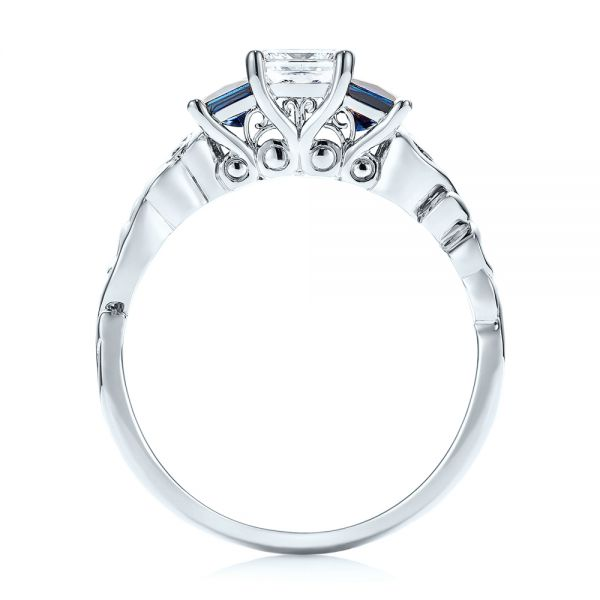 Platinum Platinum Custom Three Stone Blue Sapphire And Diamond Engagement Ring - Front View -  103146