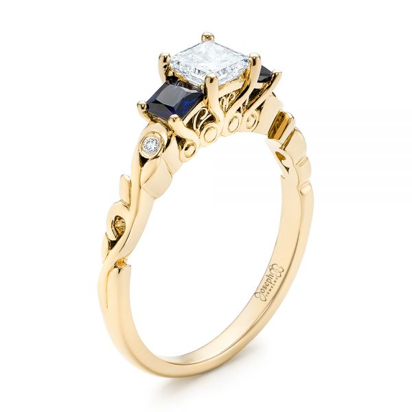 18k Yellow Gold 18k Yellow Gold Custom Three Stone Blue Sapphire And Diamond Engagement Ring - Three-Quarter View -