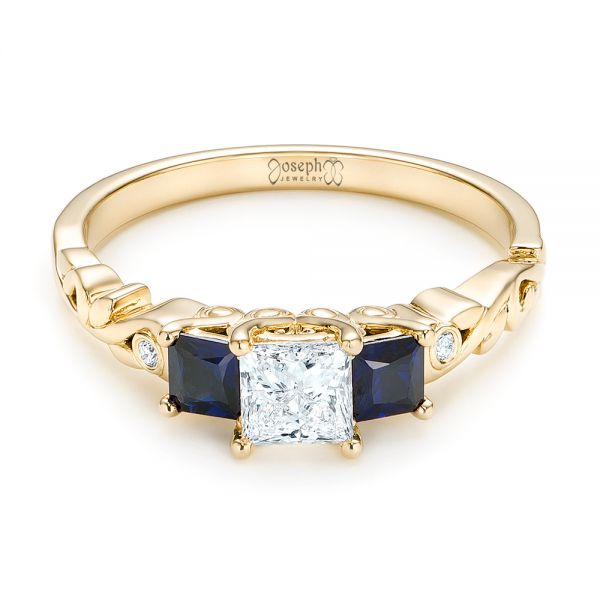 18k Yellow Gold 18k Yellow Gold Custom Three Stone Blue Sapphire And Diamond Engagement Ring - Flat View -