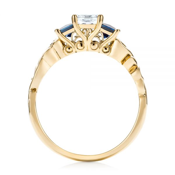 18k Yellow Gold 18k Yellow Gold Custom Three Stone Blue Sapphire And Diamond Engagement Ring - Front View -