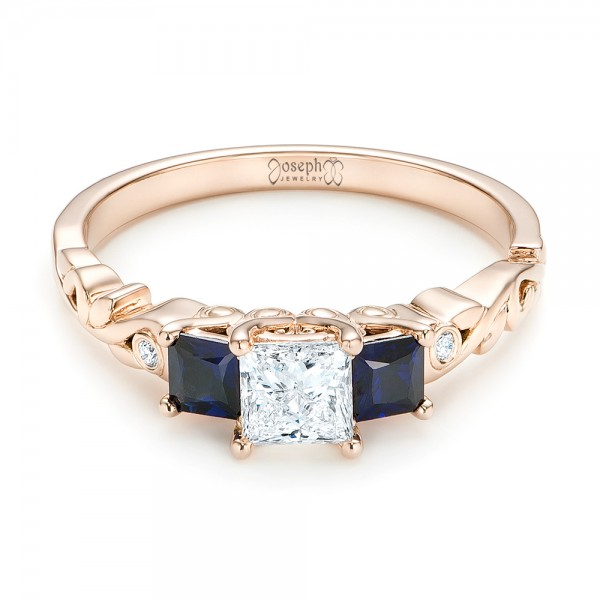 Custom Rose Gold Three Stone Blue Sapphire and Diamond Engagement Ring - Laying View