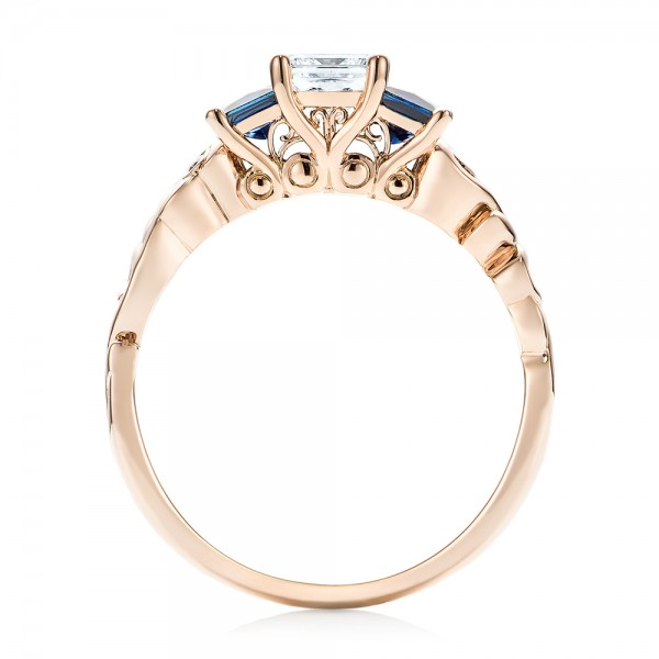 Custom Rose Gold Three Stone Blue Sapphire and Diamond Engagement Ring - Finger Through View