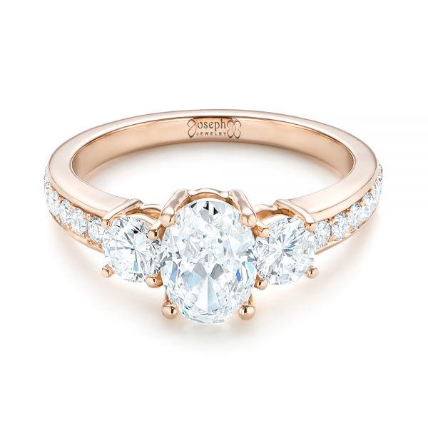 Custom Rose Gold Three Stone Diamond Engagement Ring - Laying View