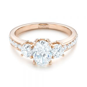 Custom Rose Gold Three Stone Diamond Engagement Ring