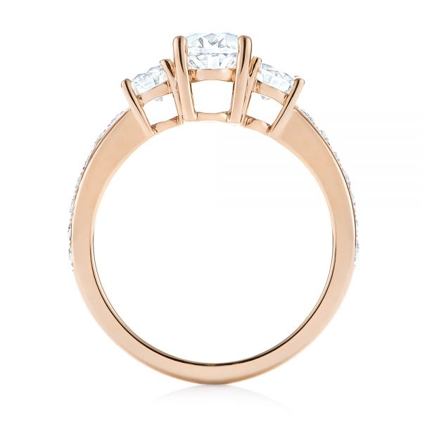 18k Rose Gold 18k Rose Gold Custom Three Stone Diamond Engagement Ring - Front View -  103651
