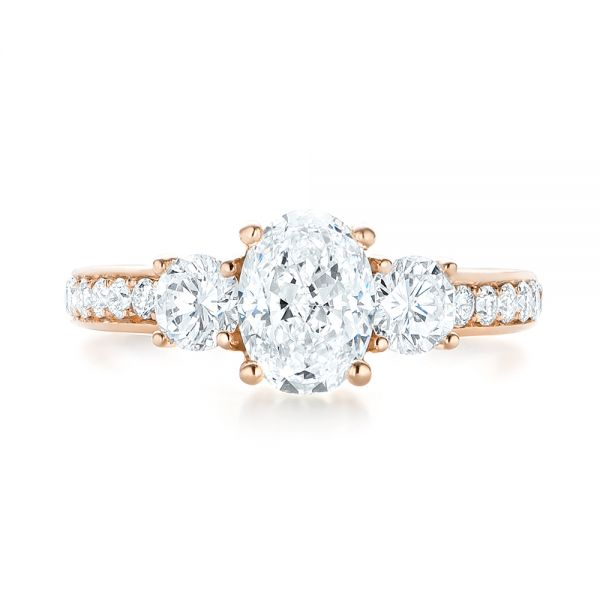 Custom Rose Gold Three Stone Diamond Engagement Ring - Top View -  103651 - Thumbnail