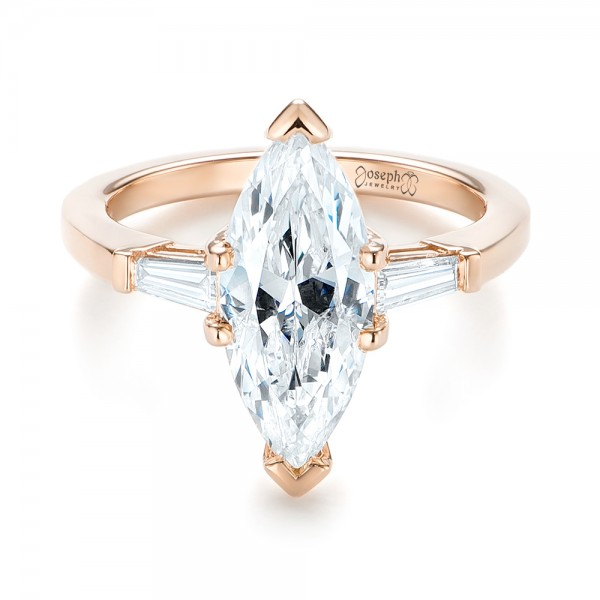 14k Rose Gold Custom Three Stone Diamond Engagement Ring - Flat View -  103650