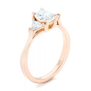 Custom Rose Gold Three Stone Engagement Ring - Image