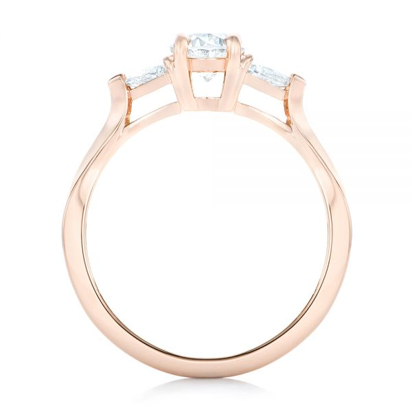 18K Rose Gold Custom Rose Gold Three Stone Engagement Ring - Front View -  102473 - Thumbnail