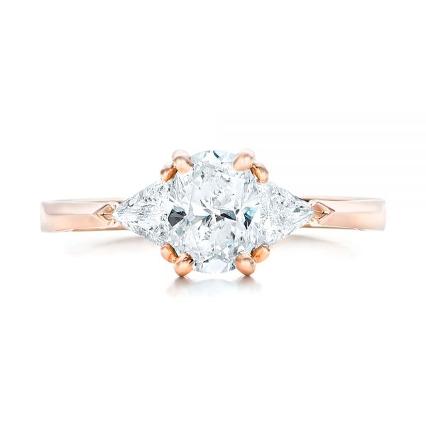 18K Rose Gold Custom Rose Gold Three Stone Engagement Ring - Top View -  102473 - Thumbnail