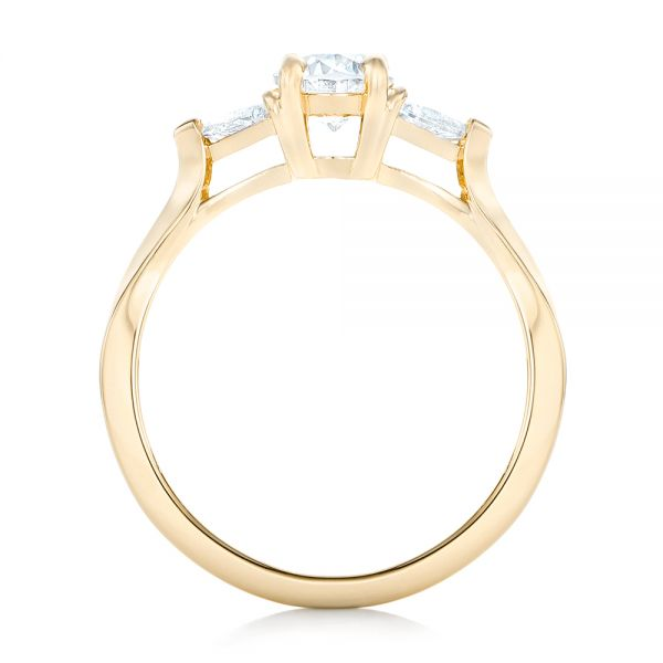 18K Yellow Gold Custom Rose Gold Three Stone Engagement Ring - Front View -  102473 - Thumbnail
