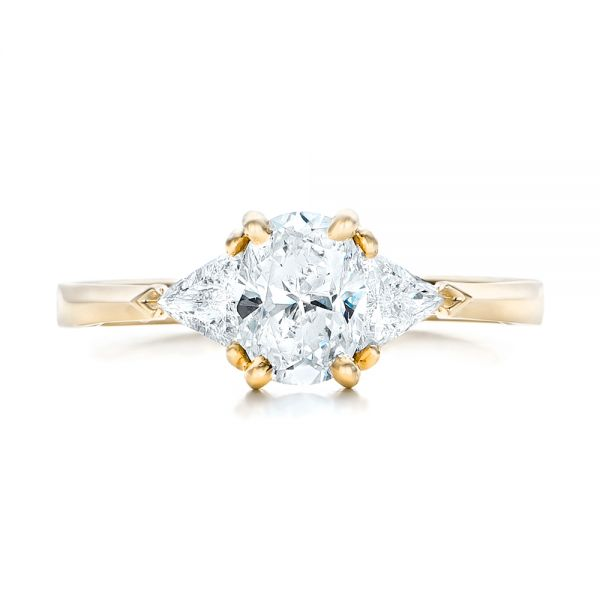 18K Yellow Gold Custom Rose Gold Three Stone Engagement Ring - Top View -  102473 - Thumbnail