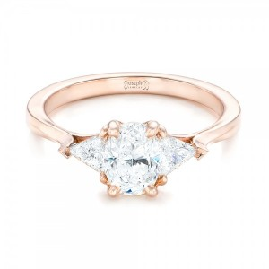 Custom Rose Gold Three Stone Engagement Ring