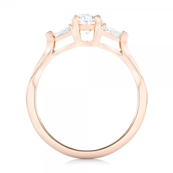 Custom Rose Gold Three Stone Engagement Ring - Finger Through View