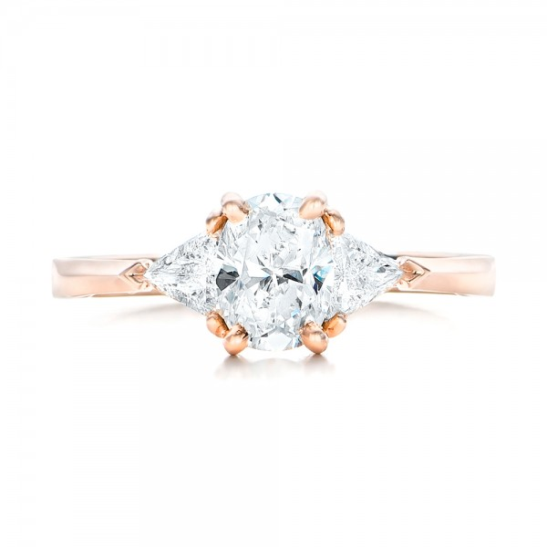 Custom Rose Gold Three Stone Engagement Ring - Top View