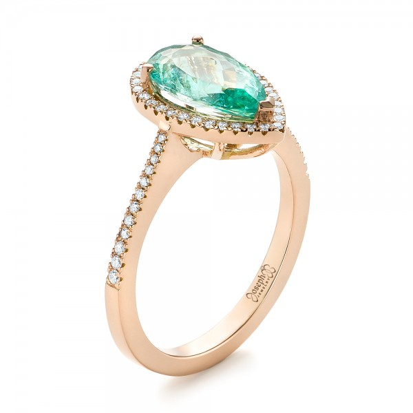 Custom Rose Gold Tourmaline and Diamond Engagement Ring - Image