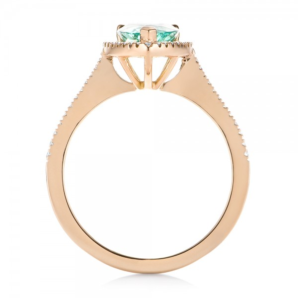 Custom Rose Gold Tourmaline and Diamond Engagement Ring - Front View -  103523 - Thumbnail