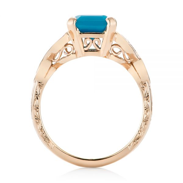 18k Rose Gold Custom Turquoise And Champagne Diamond Engagement Ring - Front View -