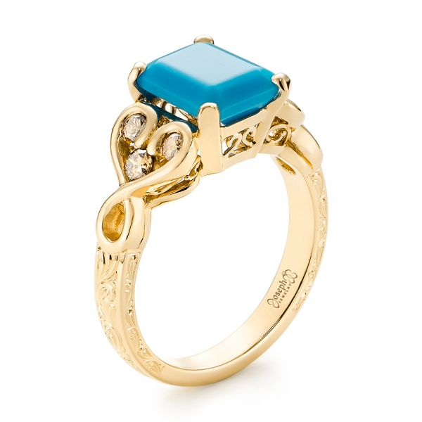 14k Yellow Gold 14k Yellow Gold Custom Turquoise And Champagne Diamond Engagement Ring - Three-Quarter View -  103377