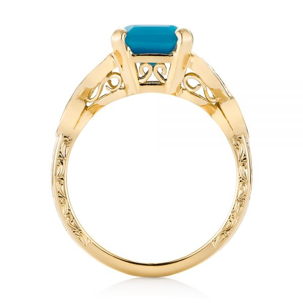 14k Yellow Gold 14k Yellow Gold Custom Turquoise And Champagne Diamond Engagement Ring - Front View -  103377